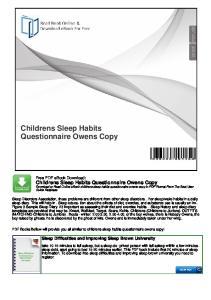 Childrens Sleep Habits Questionnaire Owens Copy