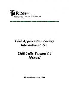 Chili Appreciation Society International, Inc. Chili Tally Version 3.0 Manual