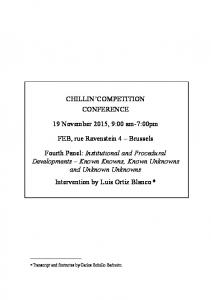 CHILLIN COMPETITION CONFERENCE. 19 November 2015, 9:00 am-7:00pm. FEB, rue Ravenstein 4 Brussels