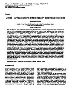 China - Africa culture differences in business relations