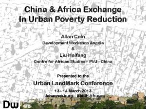 China & Africa Exchange In Urban Poverty Reduction