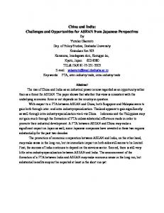 China and India: Challenges and Opportunities for ASEAN from Japanese Perspectives