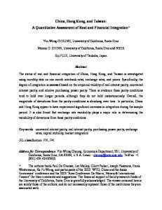 China, Hong Kong, and Taiwan: A Quantitative Assessment of Real and Financial Integration*