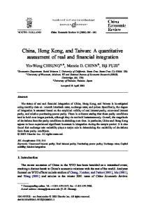 China, Hong Kong, and Taiwan: A quantitative assessment of real and financial integration