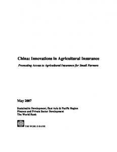 China: Innovations in Agricultural Insurance