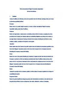 China International Freight Forwarders Association. Terms & Conditions
