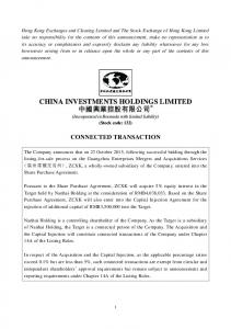 CHINA INVESTMENTS HOLDINGS LIMITED