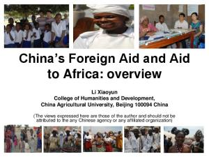 China s Foreign Aid and Aid to Africa: overview