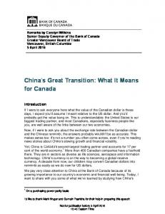 China s Great Transition: What It Means for Canada