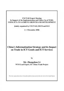China s Informatization Strategy and its Impact on Trade in ICT Goods and ICT Services