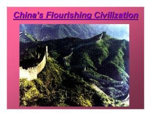 China s s Flourishing Civilization