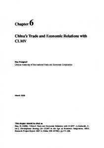 China s Trade and Economic Relations with CLMV