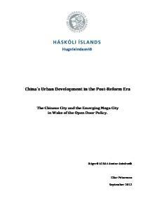 China s Urban Development in the Post- Reform Era
