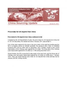 China Sourcing Update