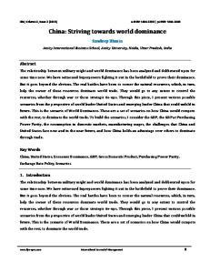 China: Striving towards world dominance