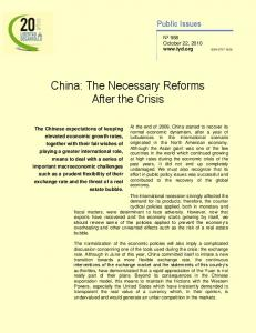 China: The Necessary Reforms After the Crisis