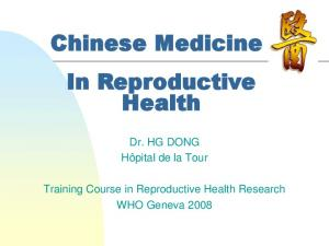 Chinese Medicine In Reproductive Health