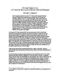Chinese Views on the U.S. National Security and National Defense Strategies. Michael D. Swaine *