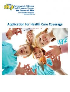CHIPcoversPAkids.com. Application for Health Care Coverage