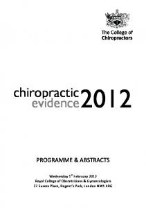 chiropractic evidence 2012