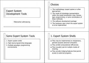 Choices. Expert System Development Tools. 1. Expert System Shells. Some Expert System Tools