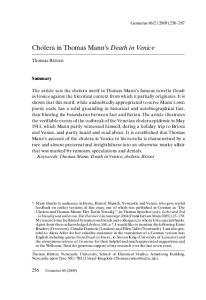 Cholera in Thomas Mann s Death in Venice