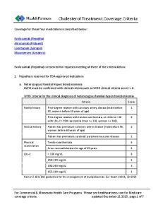 Cholesterol Treatment Coverage Criteria