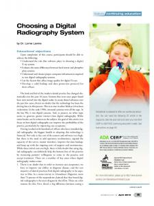 Choosing a Digital Radiography System