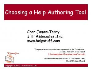 Choosing a Help Authoring Tool