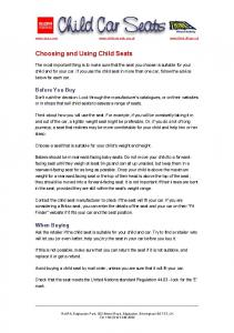Choosing and Using Child Seats