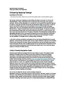 Choosing Apps by Design