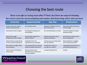 Choosing the best route