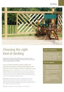 Choosing the right kind of decking. Decking