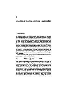Choosing the Smoothing Parameter