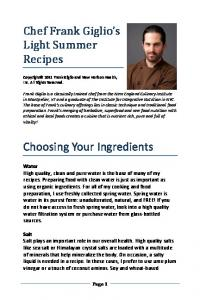 Choosing Your Ingredients