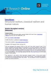 Chris Brown Structural realism, classical realism and human nature