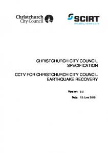 CHRISTCHURCH CITY COUNCIL SPECIFICATION CCTV FOR CHRISTCHURCH CITY COUNCIL EARTHQUAKE RECOVERY. Version: 9.0