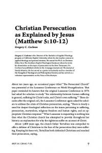 Christian Persecution as Explained by Jesus (Matthew 5:10-12)