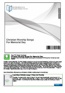 Christian Worship Songs For Memorial Day
