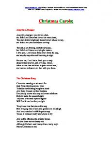 Christmas Carols; Away In A Manger