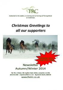 Christmas Greetings to all our supporters