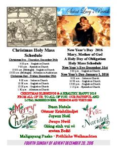 Christmas Holy Mass Schedule Christmas Eve - Thursday, December 24th