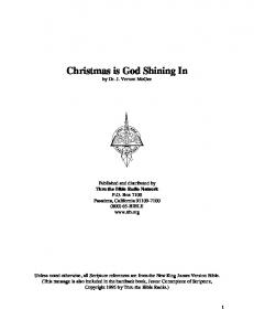 Christmas is God Shining In by Dr. J. Vernon McGee