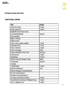 Christmas Songs and Carols TRADITIONAL WORKS