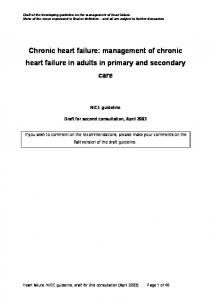Chronic heart failure: management of chronic heart failure in adults in primary and secondary care