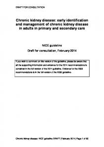 Chronic kidney disease: early identification and management of chronic kidney disease in adults in primary and secondary care