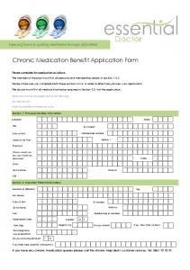 Chronic Medication Benefit Application Form