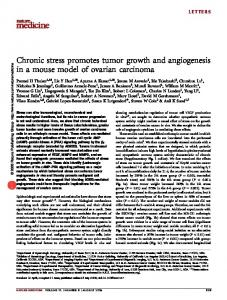 Chronic stress promotes tumor growth and angiogenesis in a mouse model of ovarian carcinoma