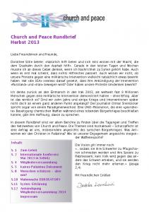 Church and Peace Rundbrief Herbst 2013