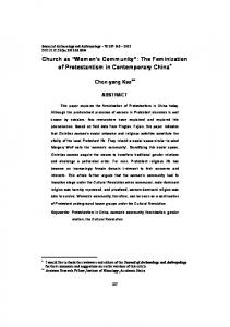 Church as Women s Community : The Feminization of Protestantism in Contemporary China